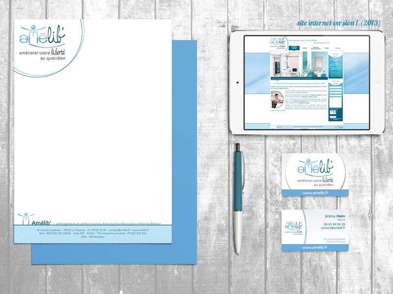 papeterie papier entête et cartes de visite pour Amélib' : aménagement de domicile pour Personnes à Mobilité Réduite - ordesign graphiste et webdesigner