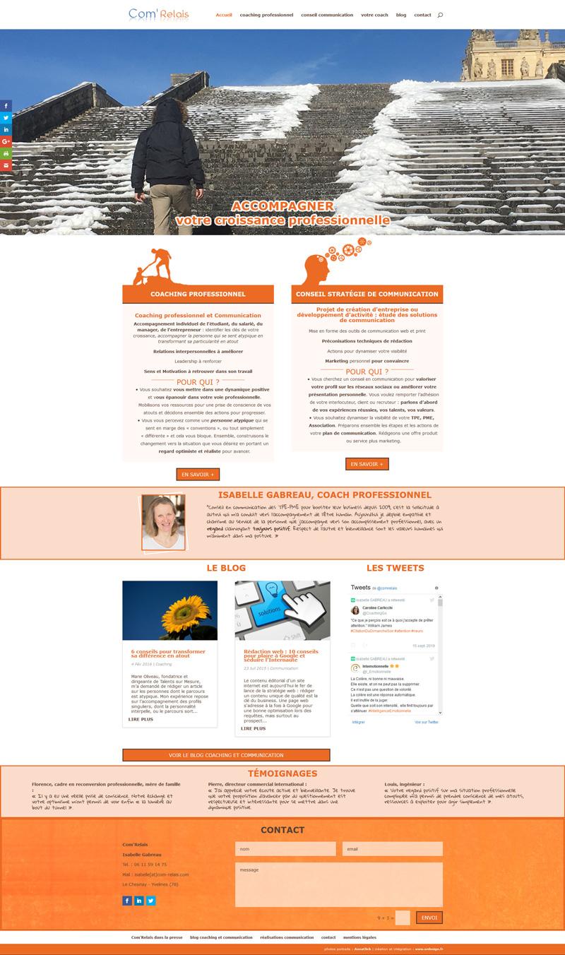 création de site internet vitrine pour une conseillère en stratégie de communication et coach professionnel - ordesign graphiste print et web