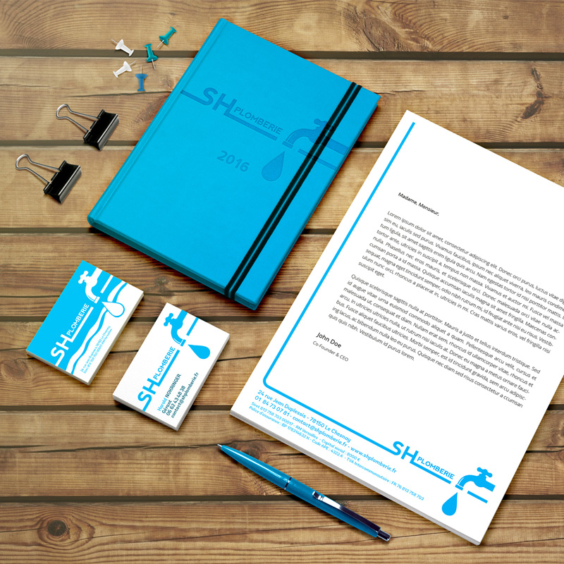 papeterie : carte de visite, papier entête, carnet, pour plombier chauffagiste - ordesign graphiste webdesigner