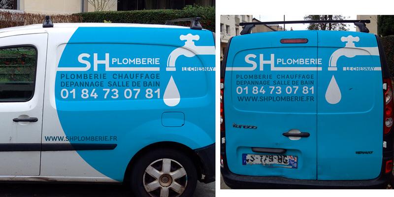 habillage véhicule camionnette plombier chauffagiste - SH plomberie - ordesign graphiste webdesigner