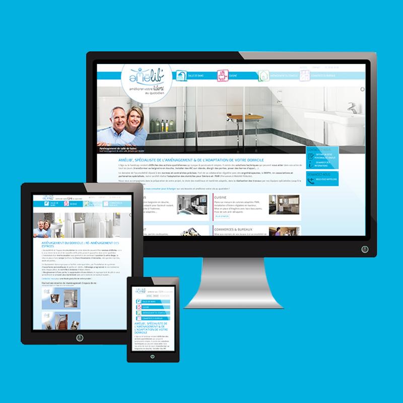 site internet d'entreprise pour Amélib' : aménagement de domicile pour Personnes à Mobilité Réduite - ordesign graphiste et webdesigner