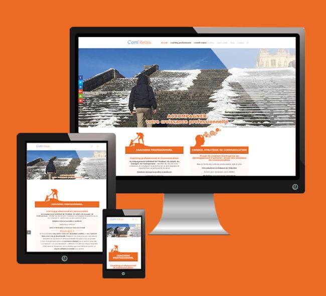 site internet Com'Relais, consultatnte en communication et coach professionnel (vignette) - ordesign graphisme et webdesign