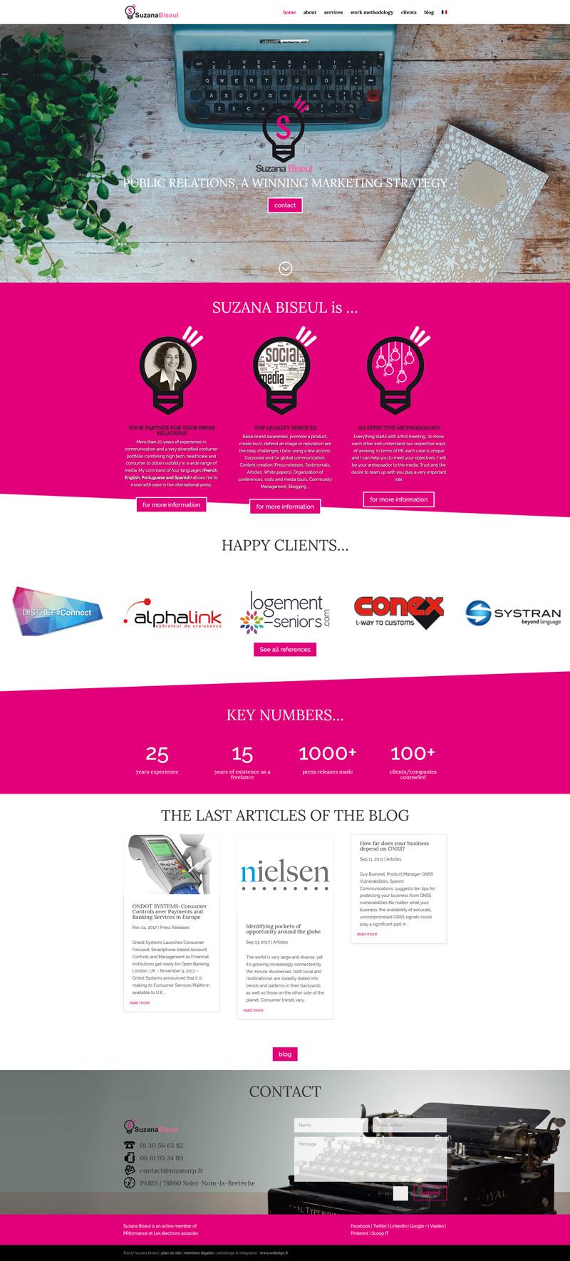 homepage du site internet de Suzana Biseul, chargée de relations presse RP - ordesign graphisme et webdesign