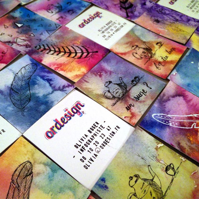 création des cartes de visite d'ordesign, graphiste et webdesigner, à l'aquarelle avec illustrations à l'encre